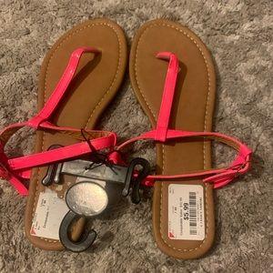 Neon pink sandals